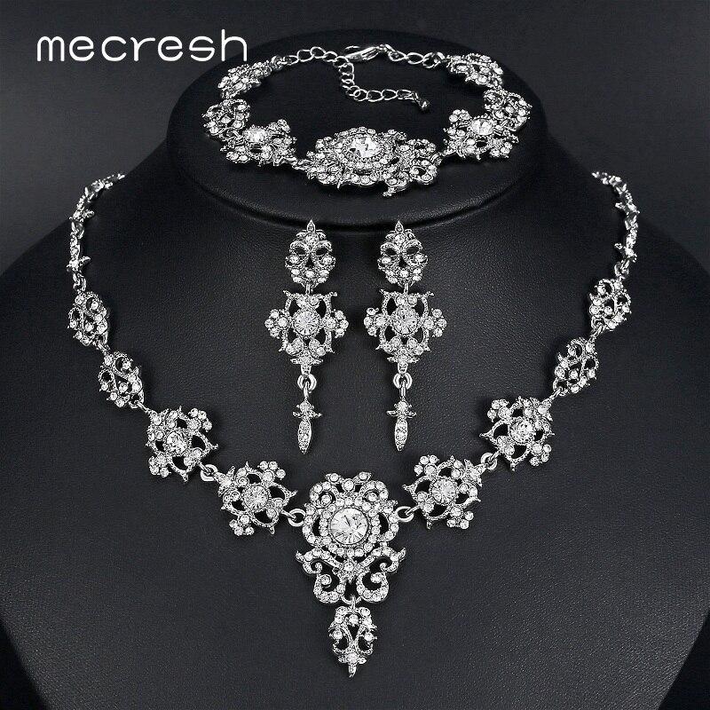 mecresh elegant bridal jewelry sets clear floral crystal
