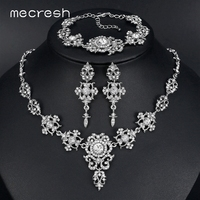 Mecresh Elegant Bridal Jewelry Sets Clear Floral Crystal Necklace Earrings Bracelets Sets Wedding Jewelry For Women