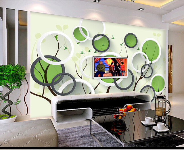 The most popular 3d large wall murals simple cartoon small forest living room sofa