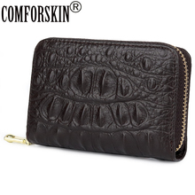 COMFORSKIN Brand Crocodile Pattern Card Holders New Arrivals Genuine Leather Wallet High Capacity Men Credit
