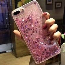 Bling Glitter Dynamic Love Heart Liquid Quicksand Phone Back Cover For iPhone 5S SE 6 6S 7 8 Plus X Case S7 Edge S8 S9 Capa