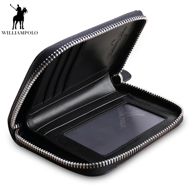 New 100% Genuine Leather Men Wallets Man Famous Small Short portomonee with Coin Zipper Mini Male Purses Card Holder Walet PL190