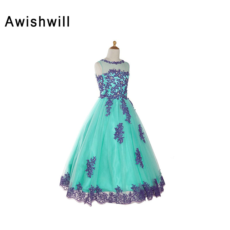 Christmas Ball Gown   Flower     Girl     Dresses   With Lace Edge Scoop Sleeveless First Communion   Dresses   Customized   Girls   Pageant   Dresses