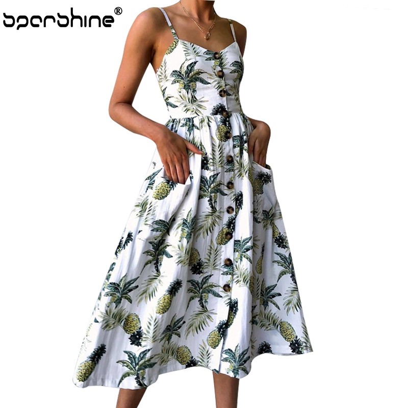 Summer Dress Women 2018 Strap Floral Print Dot Long Beach Vestidos Female Sundress Sexy Casual Loose Elegant Ladies Dresses