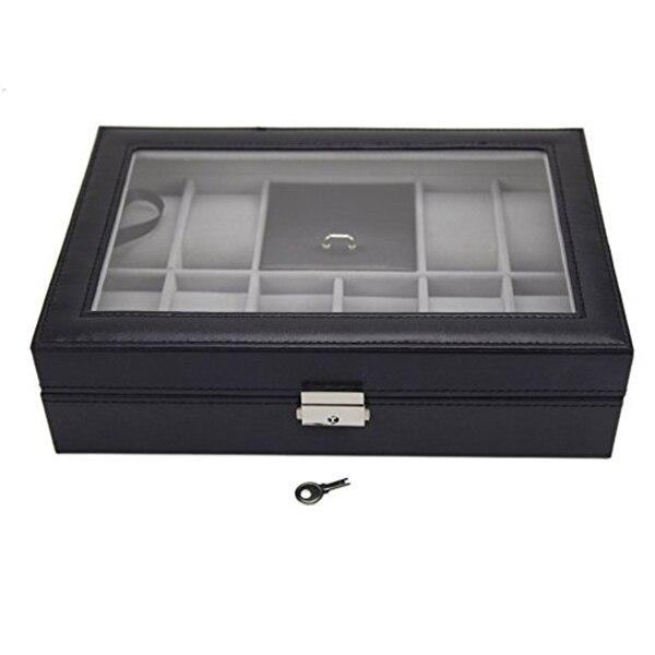 11-grids Faux Leather Watch Jewelry Display Storage Box Black