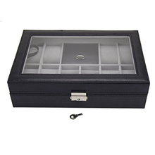 11 grids Faux Leather Watch Jewelry Display Storage Box Black
