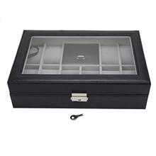 11 ızgaraları suni deri izle takı ekran saklama kutusu siyah