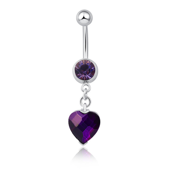 Moda corazón cristal ombligo anillos cuelgan Acero quirúrgico Piercing  ombligo para mujer Sexy verano Playa Encanto 88d857b8e6b7
