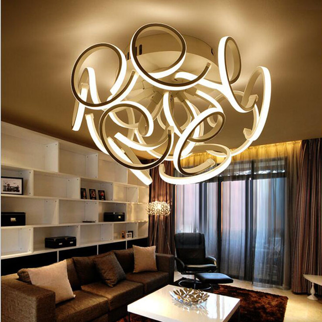 Light Filled Contemporary Living Rooms: Modern Simple Round Aluminum Ceiling Lamp Creative Led