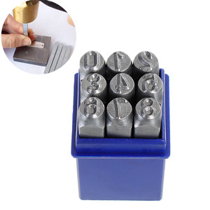 """Image 1 - DoreenBeads 8mm Karbon Çelik Antika Kalaylı Numarası """"0 9"""" Dikdörtgen Punch Metal Damgalama Araçları 65mm (2 4/8 """") x 11mm, 1 Takım"""