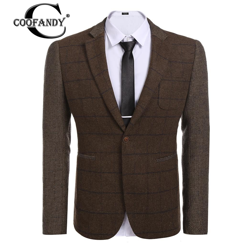 Neue Mode Coofandy Leger Neueste Männer Shirts Männer Revers Klassische Plaid Patchwork Slim Fit One Button Blazer Jacke Us-größe Verschiffen Frei