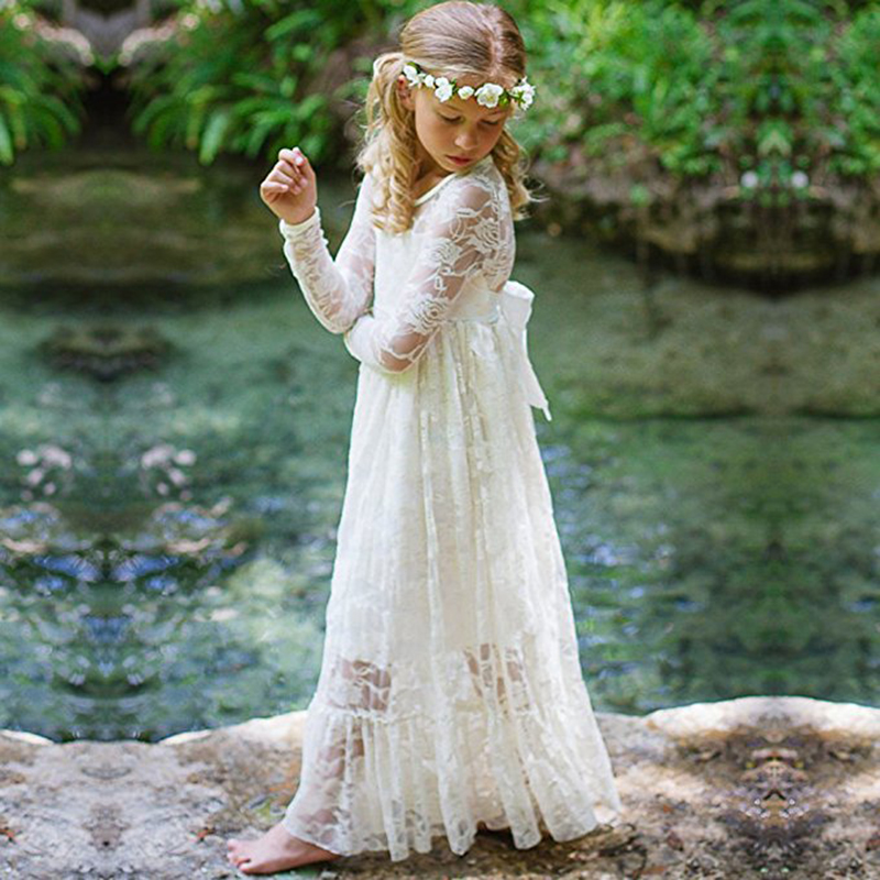 Long Sleeves Lace Beach Teenager Children Clothing Long Princess Dresses Kids Flower Girls Dress For Wedding Party 2 4 6 8 10 12 in Flower Girl Dresses from Weddings Events