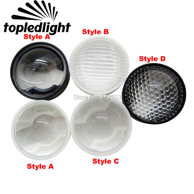 Ledlight 4 estilo 23 MM 60 grados lente Led para 1 W 3 W 5 W emisor Led de alta potencia luz de la lámpara de 20 unids/lote