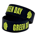 "50PCS/Lot Green Day 1"" Wide Silicon Wristband for Music Concert"
