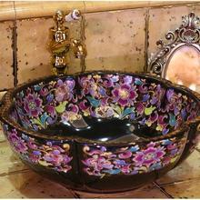 Estilo antiguo, Europeo arte en porcelana fregadero, lavamanos de encimera hecho a mano de cerámica lavabo tocador fregadero de cerámica colorido