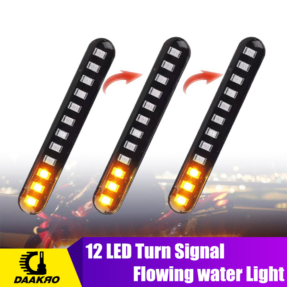 2PCS LED Turn Signals Strip Motorcycle Flowing Water Tail Brake Lights 12 LED 3528SMD License Plate Light Blinker Stop Flicker