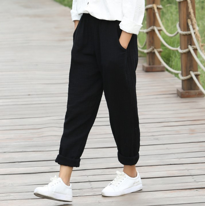 Office 2018 Spring White Cotton Linen Trousers Women Loose Elastic