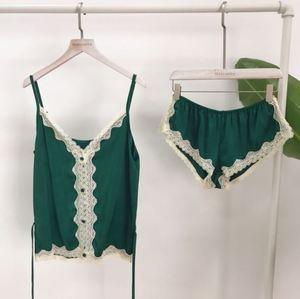 Image 3 - LISACMVPNEL Rayon Silk Pajamas Set Lace Sexy Sleepwear V neck straps Lingerie Shorts Set