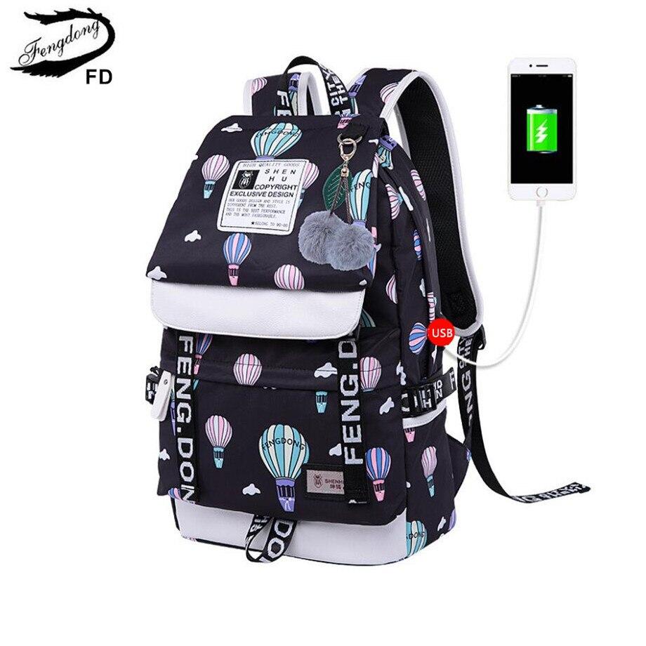 FengDong brand designer black laptop backpack women travel bags fashion ballon printing school backpack for girls female bag
