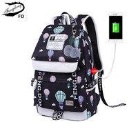 FengDong Brand Designer Black Laptop Backpack Women Travel Bags Fashion Ballon Printing School Backpack For Girls