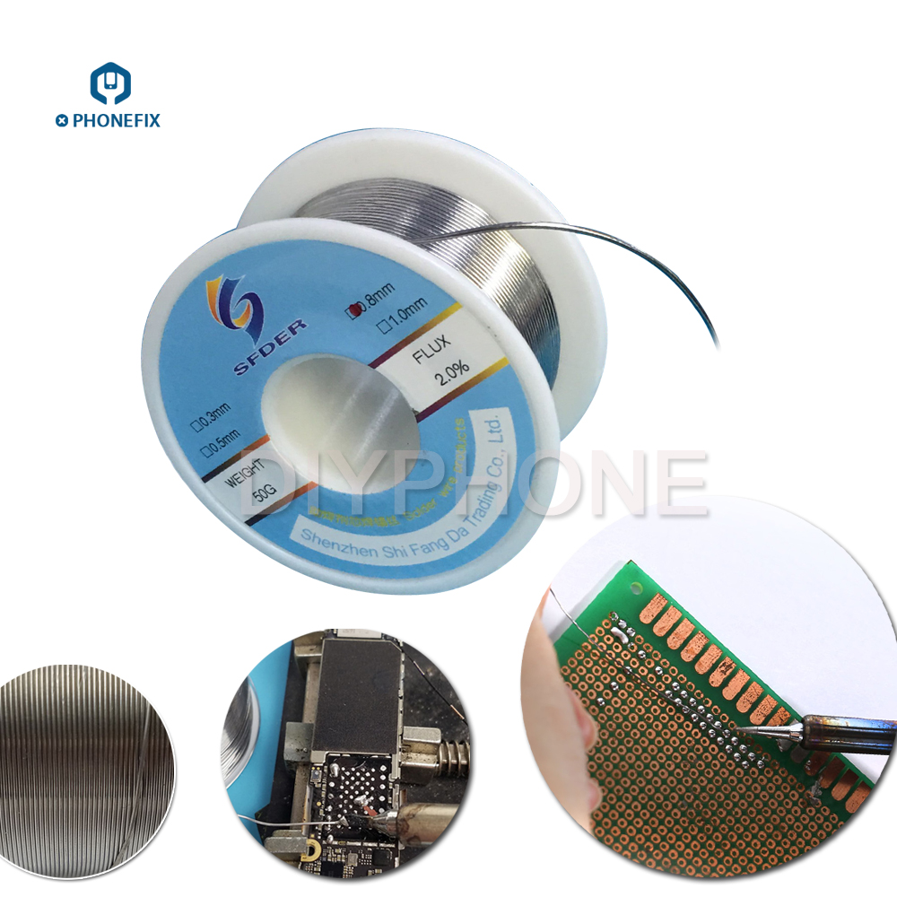 PHONEFIX 0.3 0.8mm High Purity Rosin Core Unleaded Solder Wire 2% Flux Welding Wire Reel For Mobile Phone PCB Soldering Repair