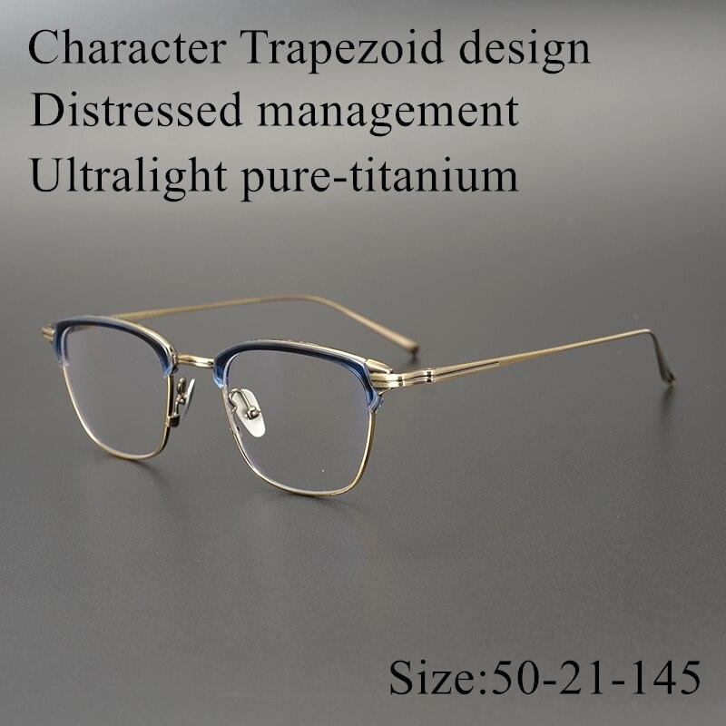 限定版ヴィンテージ超軽量純粋な titanium 眼鏡光学フレーム KJ 26 文字台形眼鏡女性男性オリジナルボックス  グループ上の アパレル アクセサリー からの 眼鏡フレーム の中 1