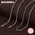 BALMORA  Настоящее серебро 925 пробы  простые классические цепочки  ожерелья для мужчин и женщин  Ретро стиль  модные аксессуары  ювелирные издел...