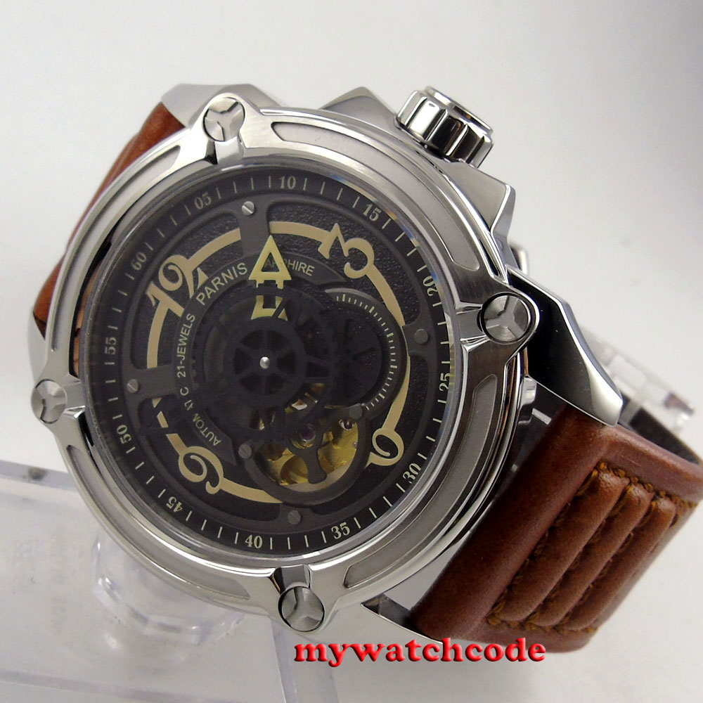 44mm Parnis black dial 21-jewels miyota Sapphire Glass Automatic mens Watch P662 все цены