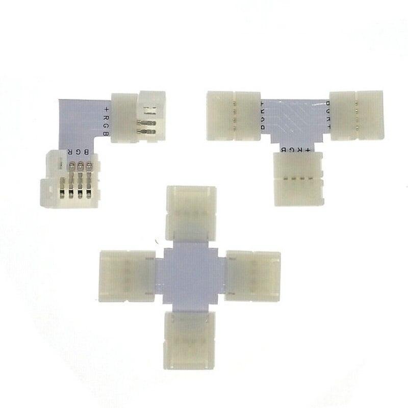 RGB LED Strip Connector 4pin 10mm L Shape / T Shape / X Shape Free Welding Connector 5pcs/lot. new 5pcs 2pin 3pin 4pin led connector l t x shape fpc adapter free welding for 8mm 10mm 3528 2812 5050 rgb light strip