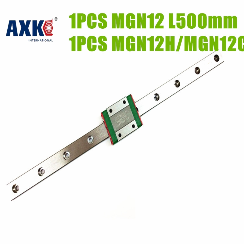 AXK  12mm linear rail guide MGN12 length 500mm with mini MGN12H/MGN12C linear carriage miniature linear motion guide way for cnc axk mr12 miniature linear guide mgn12 long 400mm with a mgn12h length block for cnc parts free shipping
