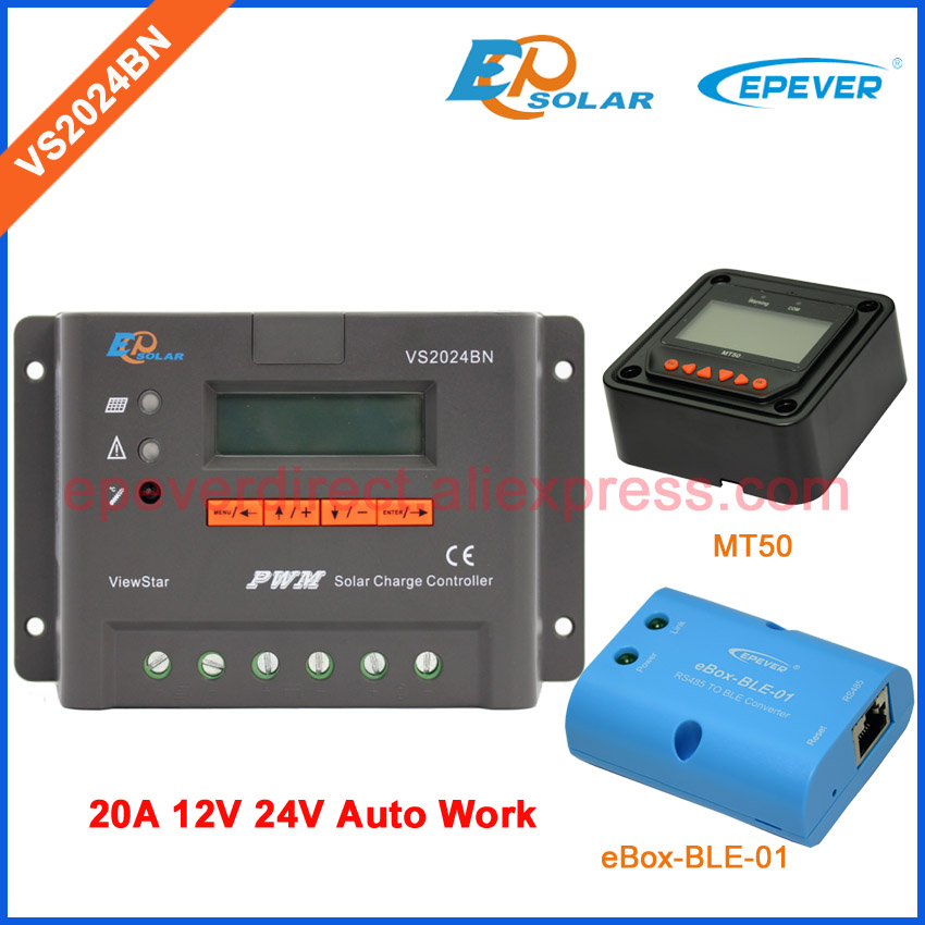 Charger 12v solar controller 24v EPEVER battery regulator 20A 20amp bluetooth function and meter MT50 VS2024BN epever pwm epsolar 20a vs2024bn with bluetooth function box solar charger controller temperature sensor and mt50 meter
