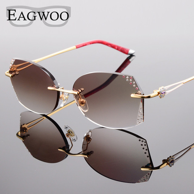 1677429f63 Alloy Eyeglasses Women Rimless Prescription Reading Myopia Sunglasses  Glasses with Color Tinted Prescription lenses 528061