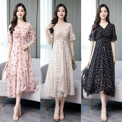 d388da78f ... vestido coreano verano Boho Sexy ropa mujer moda Casual Floral. Summer  2019 Chic V Neck Chiffon A Line Korean Dress For Summer Boho Korean Sexy  Women