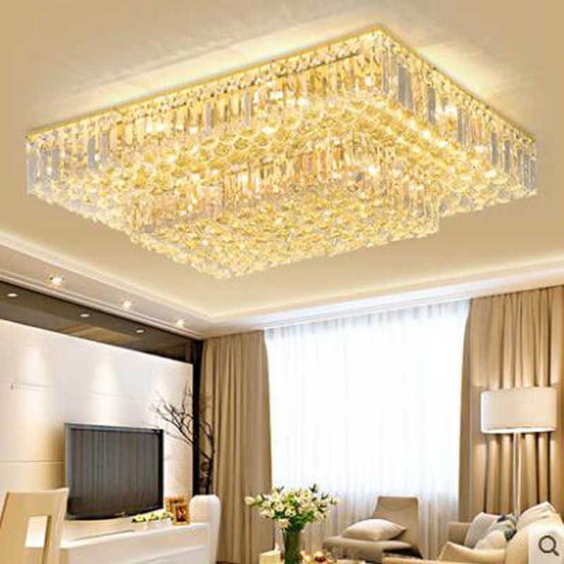 ยุโรปรูปสี่เหลี่ยมผืนผ้าคริสตัลโคมไฟเพดานโคมไฟห้องนั่งเล่นบรรยากาศห้องนอนโมเดิร์นโคมไฟเพดาน LED ร้านอาหารโคมไฟ