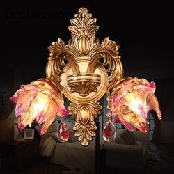 Francuski styl kryształ kinkiet salon ściana tła przejściach i korytarzach sypialnia lampki nocne europejski styl podwójne headed kinkiet w Lampy ścienne od Lampy i oświetlenie na