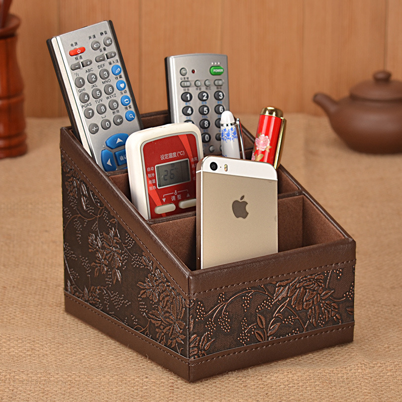 office desk organizer remote control holder desktop storage box pen holder leather home. Black Bedroom Furniture Sets. Home Design Ideas