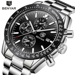BENYAR mężczyzna zegarka biznes pełny stalowy kwarcowy zegarek mężczyźni luksusowej marki góry dorywczo wodoodporny męski chronograf męskie zegarki sportowe