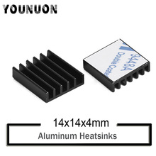2Pcs YOUNUON Black 14*14*6mm Computer Radiator Aluminum Heatsink Heat sink for Electronic Chip dissipation Cooling Pads