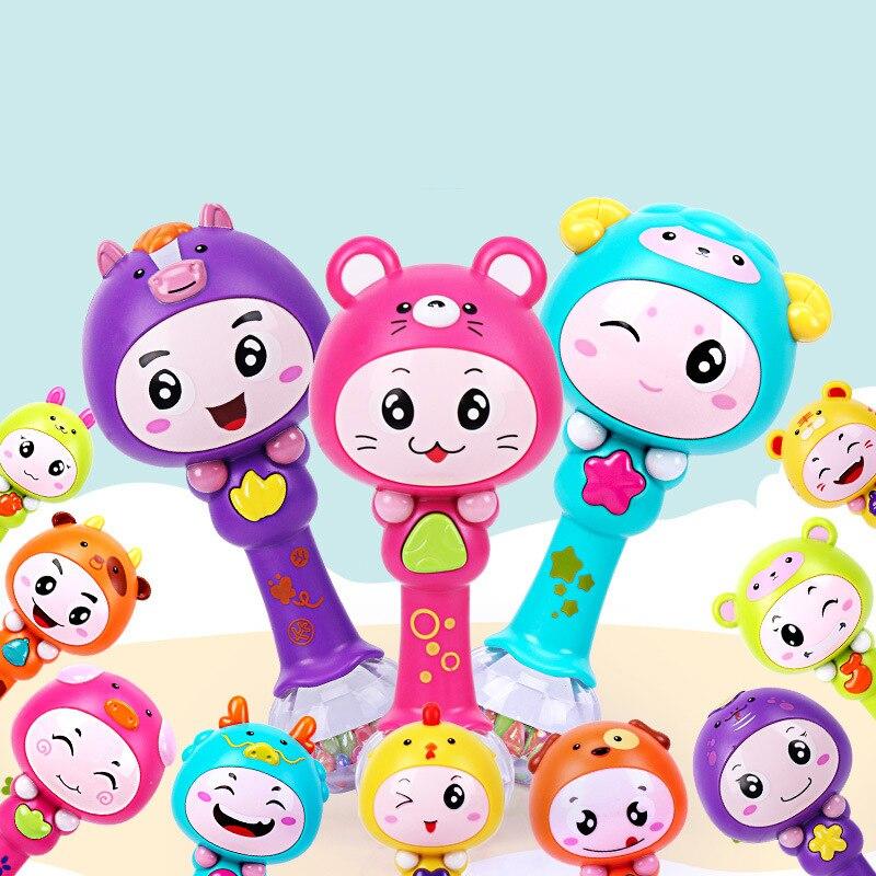 Brinquedos Para Bebe Bébé Musical Jouets Pour Bébé 0-12 Mois Bande Dessinée Animaux Lumière Bébé Hochets Oyuncak