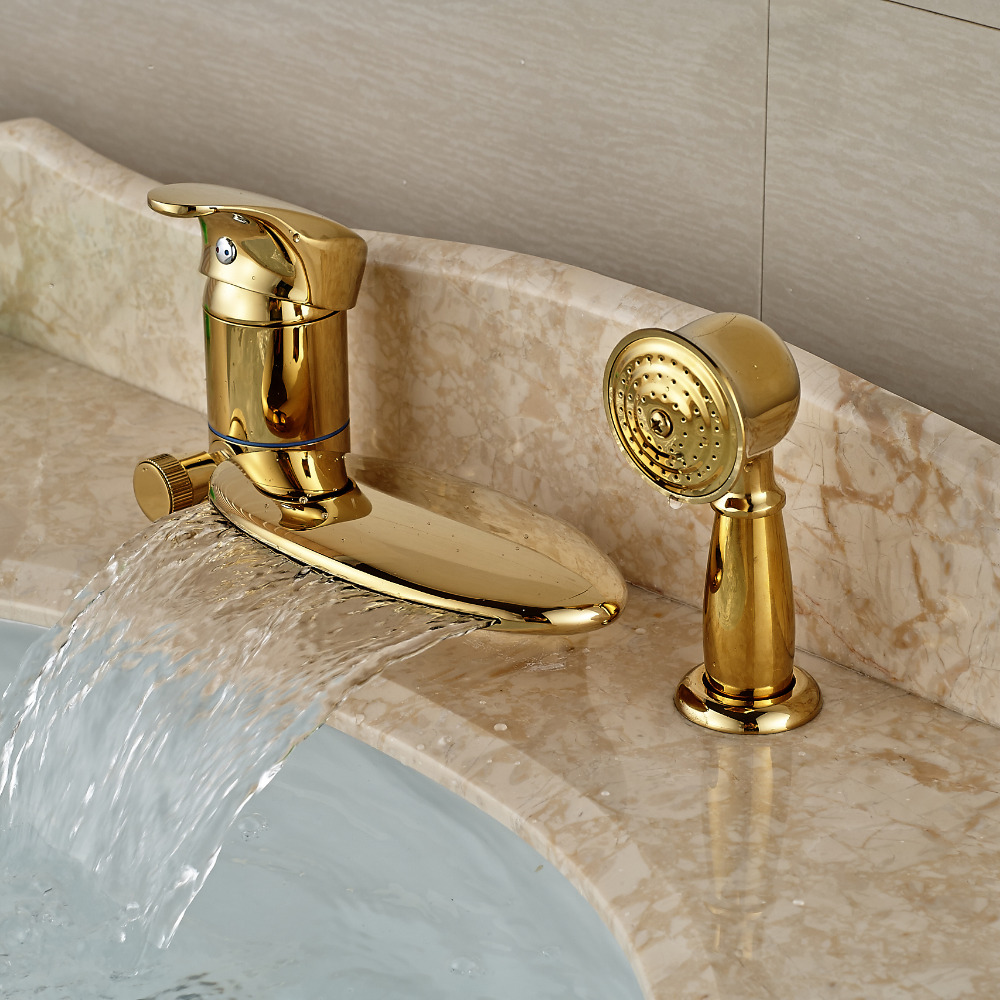Luxury Golden Brass Bathtub Mixer Faucet Taps Widespread