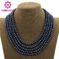 Gorgeous 5 Rows Freshwater Black Pearls Necklace Fashion Pearl Strands Party Jewelry Free Shipping FP76