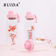 RUIDA Creativity Cartoon Pink Panther Water Bottles Non-slip Travel Bottle Cute For Children Kids Adults Cup
