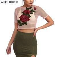 YJSFG HOUSE Sexy Women Hollow Out Mesh T Shirt 2017 Summer O Neck Short Sleeve Crop