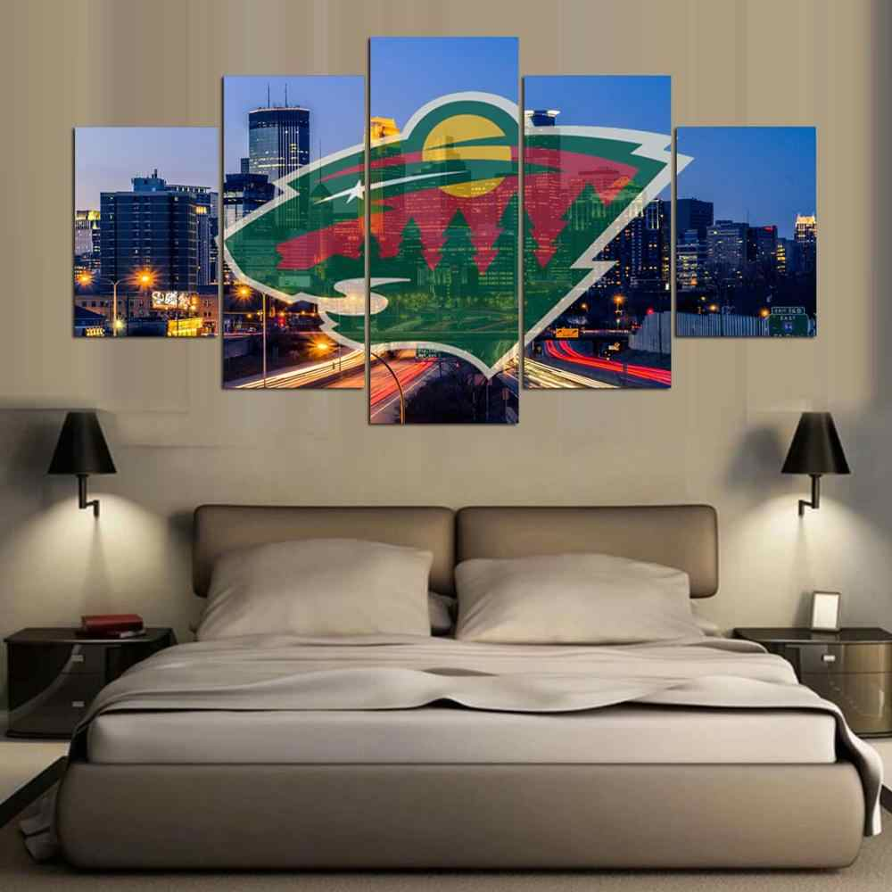 Hot Sale 5 Panel minnesota wild logo Fans Printed Painting On Canvas Modern Home Pictures Prints Liveing Room Deco Fans Posters