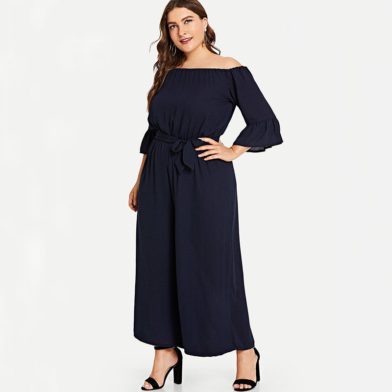 Jumpsuits   Plus Size 5XL Cut Out Overlay   Jumpsuit   Women off should Loose Fitting Romper Summer Lady overalls High Waist pant