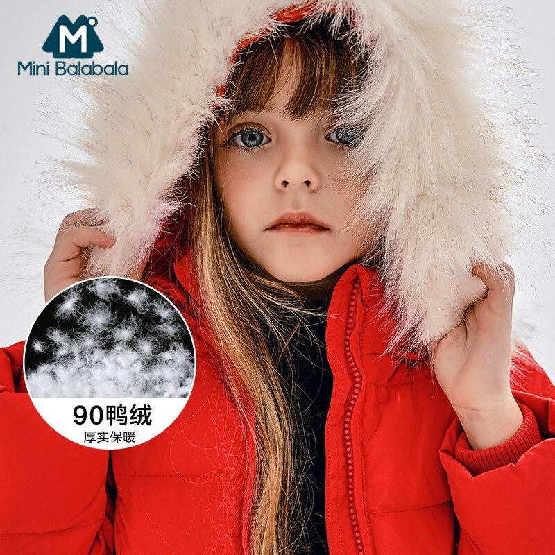 冬ガールコート子供の冬のコートのためのリアルファーフード新年衣装ベビー上着  グループ上の ママ & キッズ からの ダウン & パーカー の中 1
