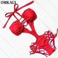 OMKAGI Brand One Piece Swimsuit Swimwear Women Sexy Push Up Bodysuit Bathing Suit Beacheear 2017 Monokini