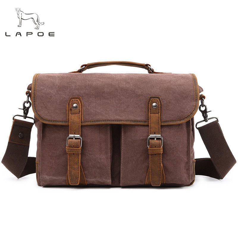 LAPOE Fashion Bolsa Masculina Travel Shoulder Bags Vintage canvas Briefcase bag, male casual shoulder bags, men messenger bag canvas leather crossbody bag men briefcase military army vintage messenger bags shoulder bag casual travel bags