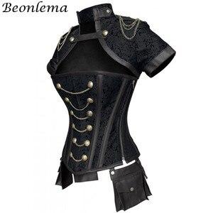 Image 2 - Beonlema Corset gothique, rouge, noir, Steampunk pour femmes, tenue Sexy en acier, surbuste, Corset gothique rétro, Punk