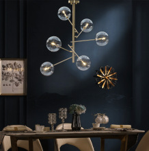 Loft Gold Creative Chandelier Iron Dining Lighting Living Room Lamp American Syle Minimalism Lamp Indoor Modern LED B